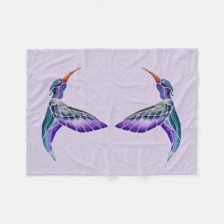 Hummingbird Abstract Watercolor Fleece Blanket