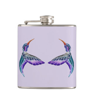 Hummingbird Abstract Watercolor Hip Flask