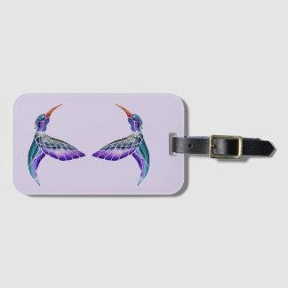 Hummingbird Abstract Watercolor Luggage Tag