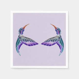 Hummingbird Abstract Watercolor Paper Napkins
