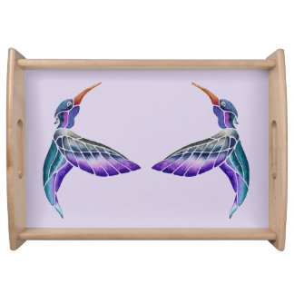 Hummingbird Abstract Watercolor Serving Tray