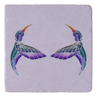 Hummingbird Abstract Watercolor Trivet