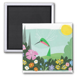 Hummingbird Among Flowers Magnet