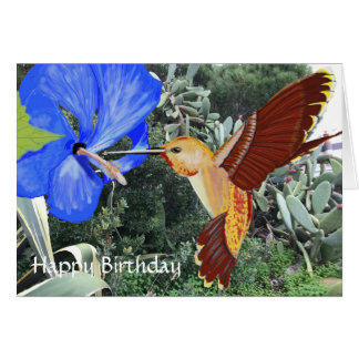 Hummingbird and Blue Hibiscus Happy Birthday Card