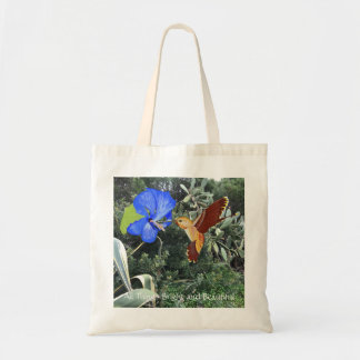 Hummingbird and blue Hibiscus with tropical plants Tote Bag