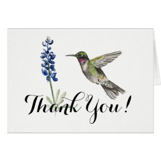 Hummingbird and Bluebonnet blank Thank You Card