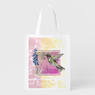 Hummingbird and Bluebonnet on Pink and Gold Reusable Grocery Bag