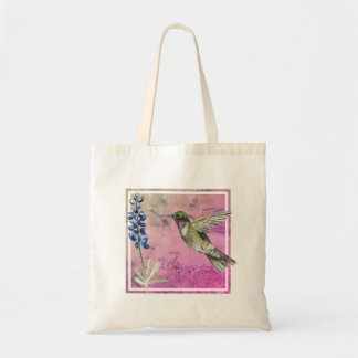 Hummingbird and Bluebonnet on Purple Background Tote Bag