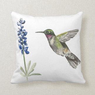 Hummingbird and Bluebonnet Throw Pillow