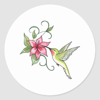 HUMMINGBIRD AND FLOWER CLASSIC ROUND STICKER