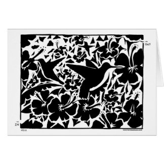 Hummingbird and Flower Maze in black and white. Card