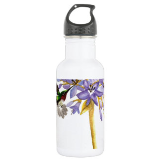 Hummingbird and Flowers 532 Ml Water Bottle