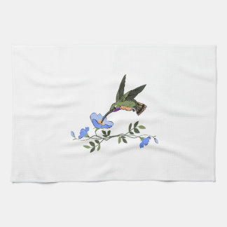 HUMMINGBIRD AND FLOWERS KITCHEN TOWEL
