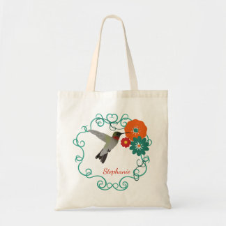 Hummingbird and Flowers Personalized Tote Bag