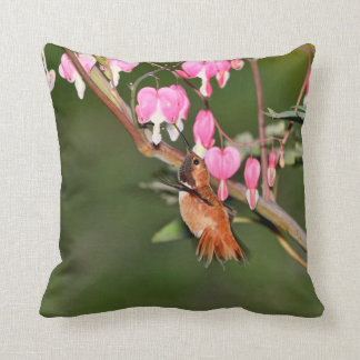 Hummingbird and Flowers Picture Throw Pillow