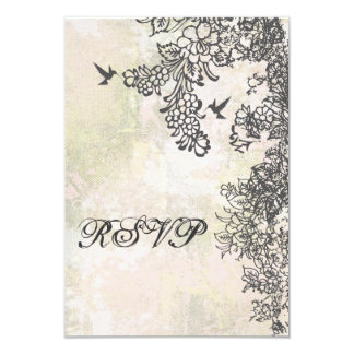 Hummingbird and Flowers Wedding RSVP Card