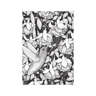 Hummingbird and fuchsia canvas print