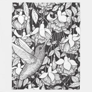 Hummingbird and fuchsia fleece blanket