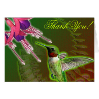 Hummingbird and Fuchsia Thank You Card