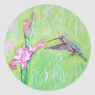 Hummingbird and Gladioli Round Sticker