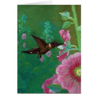 Hummingbird and Hollyhocks Card