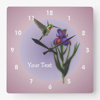 Hummingbird And Iris Flower Animal Square Wall Clock