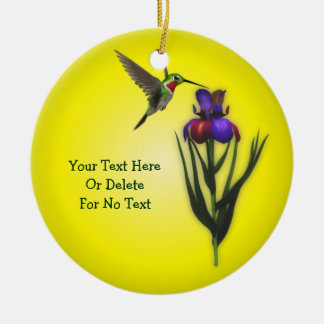 Hummingbird And Iris Flower Personalized Ceramic Ornament
