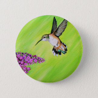Hummingbird and Lilac 2 Inch Round Button