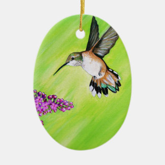 Hummingbird and Lilac Ceramic Ornament