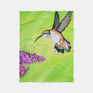 Hummingbird and Lilac Fleece Blanket