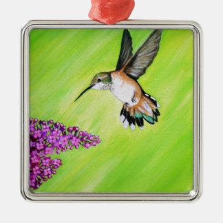 Hummingbird and Lilac Metal Ornament