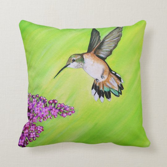 Hummingbird and Lilac Throw Pillow