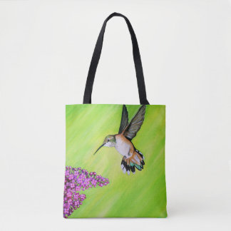 Hummingbird and Lilac Tote Bag