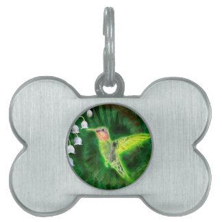Hummingbird and Lily Fractal Pet Tag