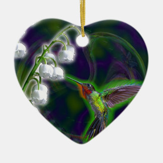 Hummingbird and Lily of the Valley Flowers Ceramic Ornament