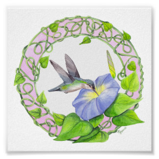 Hummingbird and Morning Glory Vine Wreath Poster