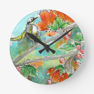 Hummingbird and Orange Blossoms Wall Clock