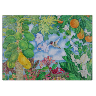 Hummingbird and Papayas Cutting Board