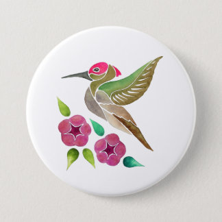 Hummingbird and Petunia Abstract Painting 3 Inch Round Button