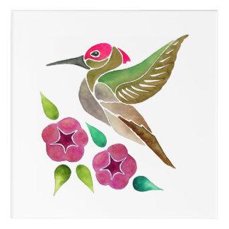 Hummingbird and Petunia Abstract Painting Acrylic Wall Art