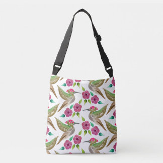 Hummingbird and Petunia Abstract Painting Crossbody Bag