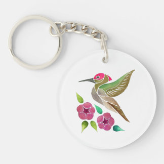 Hummingbird and Petunia Abstract Painting Keychain