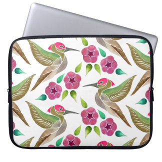 Hummingbird and Petunia Abstract Painting Laptop Sleeve