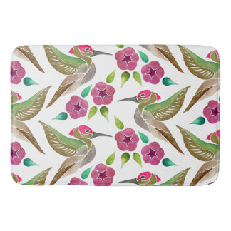 Hummingbird and Petunia Abstract Painting Pattern Bath Mat
