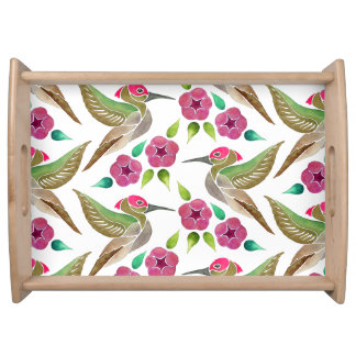 Hummingbird and Petunia Abstract Painting Pattern Serving Tray