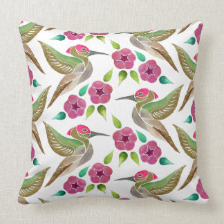 Hummingbird and Petunia Abstract Painting Pattern Throw Pillow