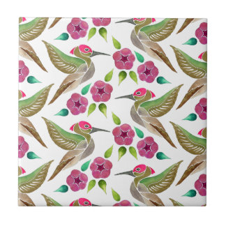 Hummingbird and Petunia Abstract Painting Pattern Tile