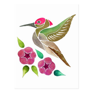 Hummingbird and Petunia Abstract Painting Postcard