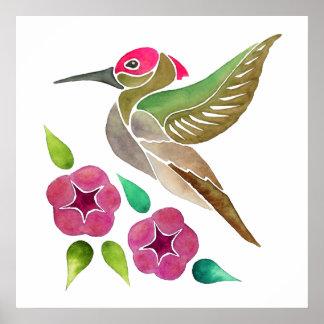 Hummingbird and Petunia Abstract Painting Poster