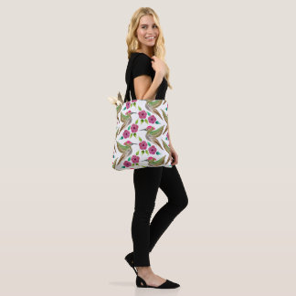 Hummingbird and Petunia Abstract Painting Tote Bag